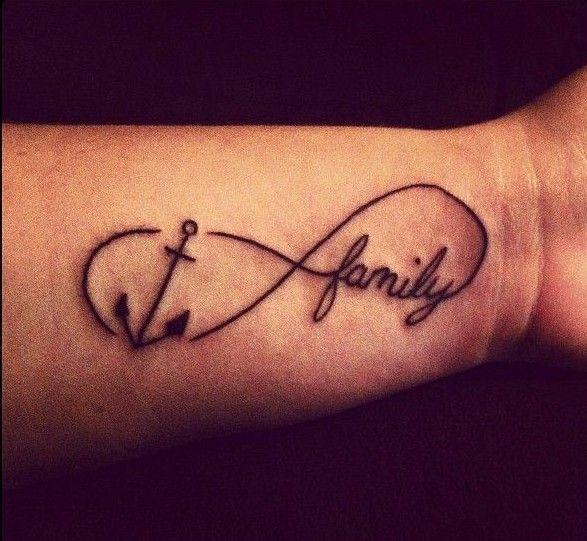 Signo Infinito Con Ancla Y Frase Family Tatuajes De Familia