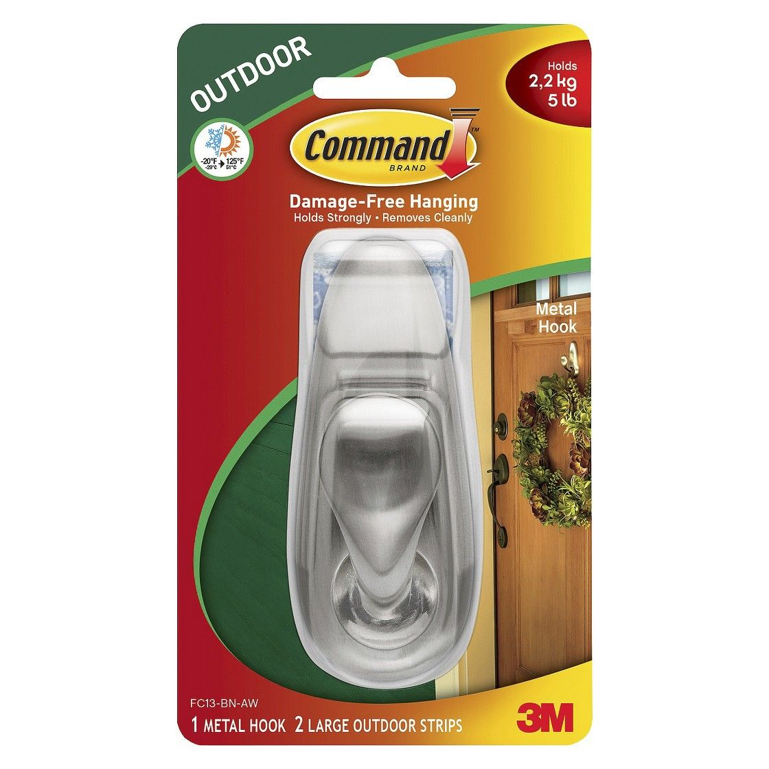 Command Large Sized Outdoor Classic Decorative Metal Hook With Foam Strips Nickel Metal Hooks Metal Classic Metal