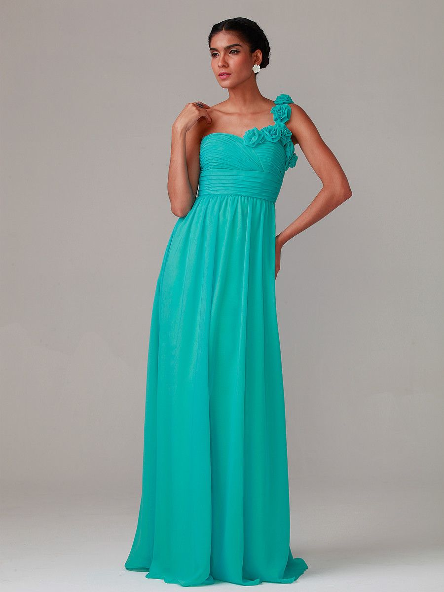 Rose Detailed One-shoulder Dress; Color: Pool Blue; Sizes ...