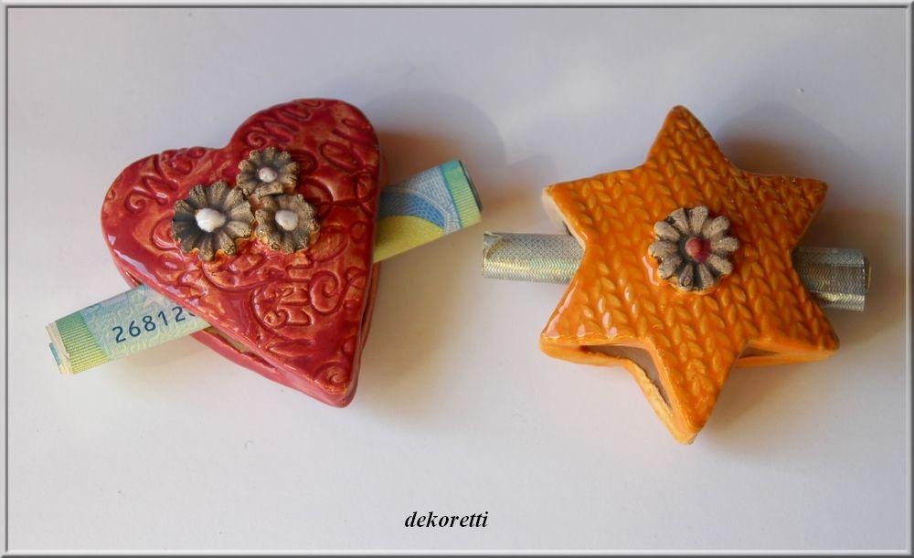kleines Herzchen / Sternchen aus Ton