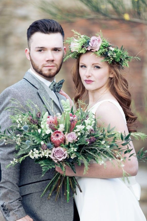 true honesty: a stripped back styled outdoor wedding shoot at manor lodge. Wedding flower crown.  Image by Stu Ganderton Wedding Photography.  Read more: http://bridesupnorth.com/2016/05/19/true-honesty-a-stripped-back-styled-outdoor-wedding-shoot-at-manor-lodge/