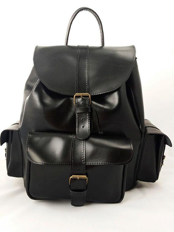 Leather Backpack -Black Leather Rucksack e9f76f198b741
