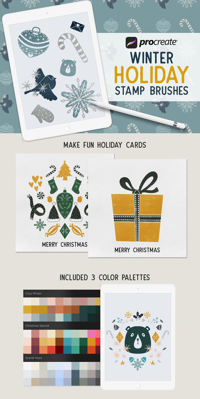 Winter Holiday Procreate Stamp Brushes / Set of 50 brushes ...