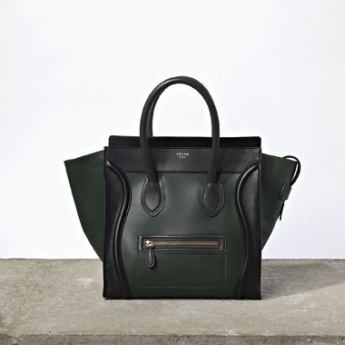 Celine Luggage tote in black and forest green. That color combination is  AMAZING.