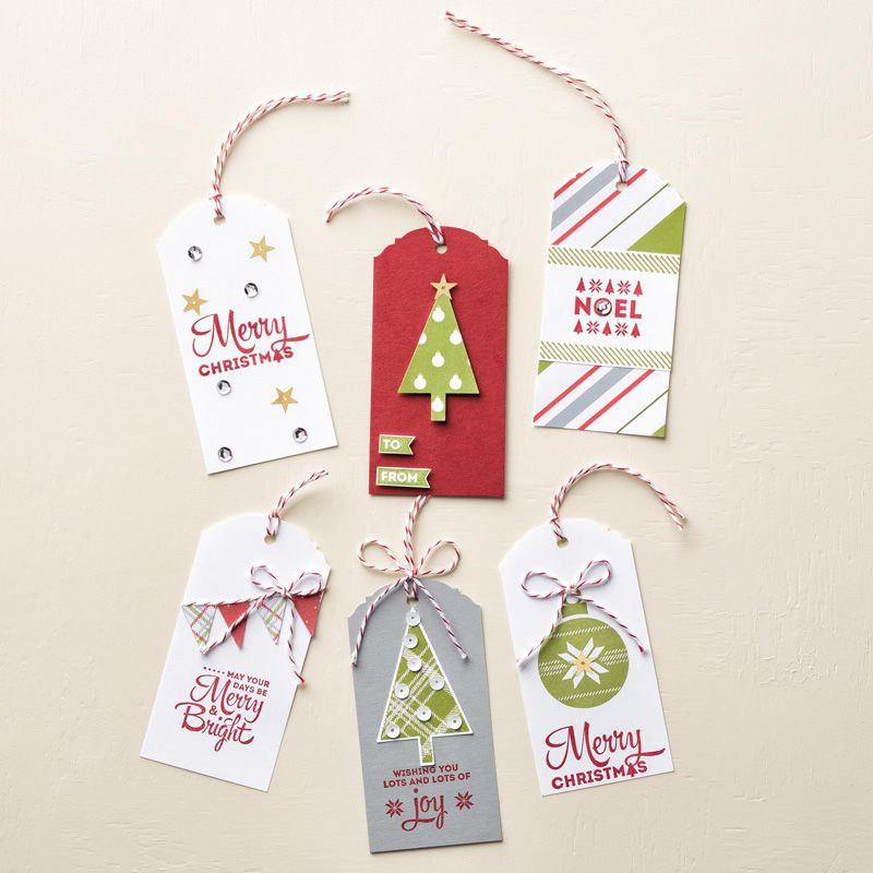 Stampin' Up! Lots of Joy Christmas gift tags with Ornate Tag Topper Punch #stampinup