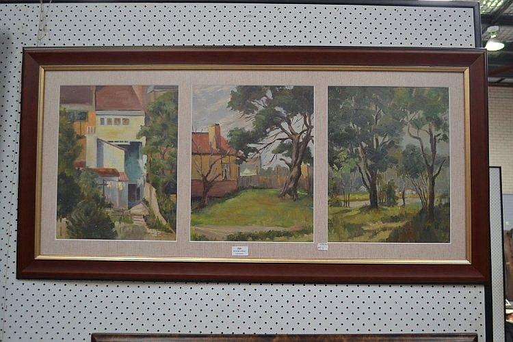 Stephen Salzmann Triptych, each approx 36.5cm x 29cm