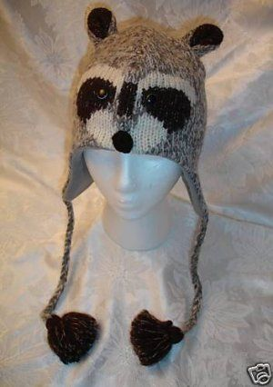 f75f7606d1a45 deLux RACCOON HAT face ADULT SIZE wool knit ski CAP racoon Halloween ...
