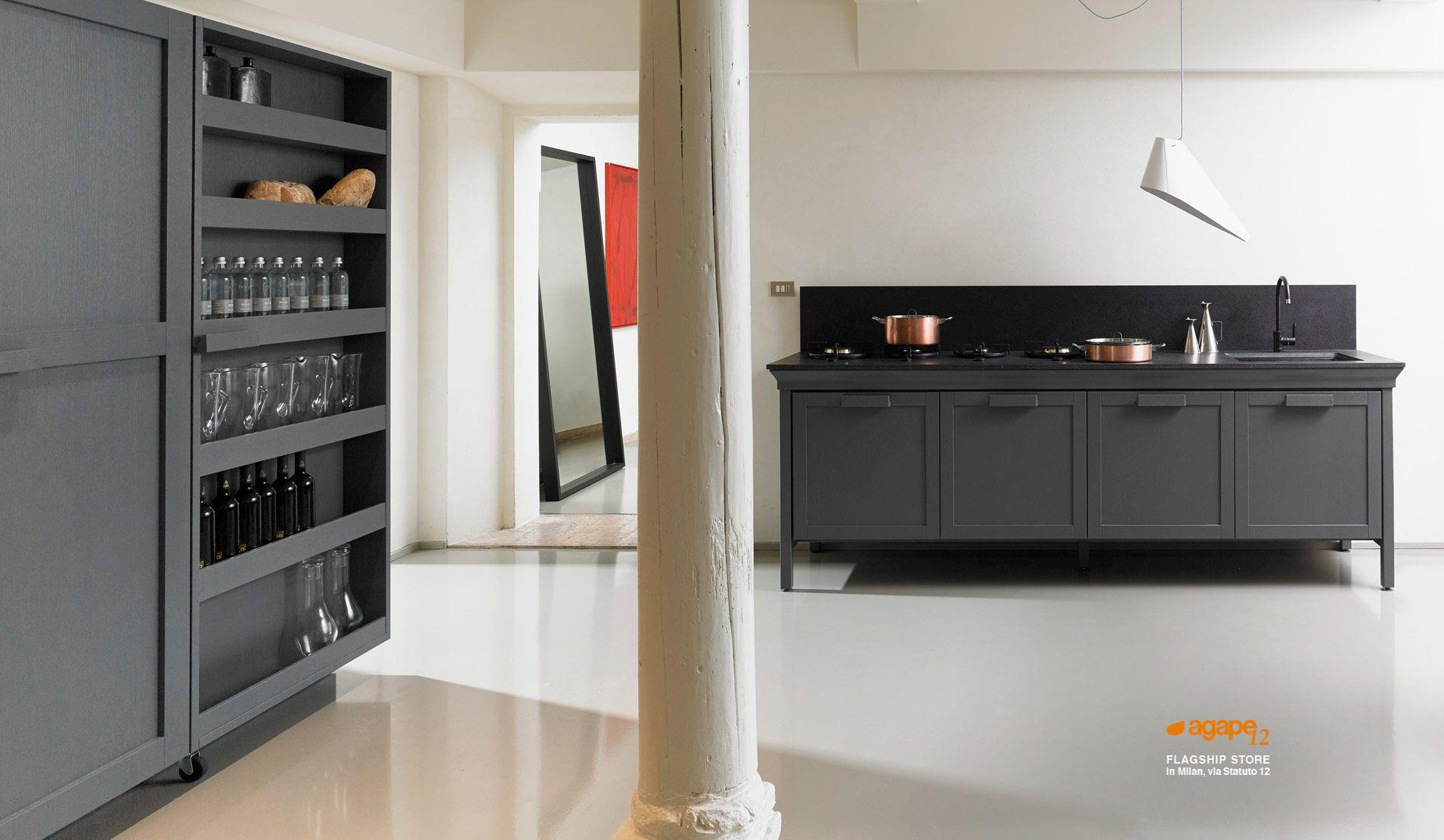 Cucina Monticello con bancone centrale (piano di lavoro in rovere ...