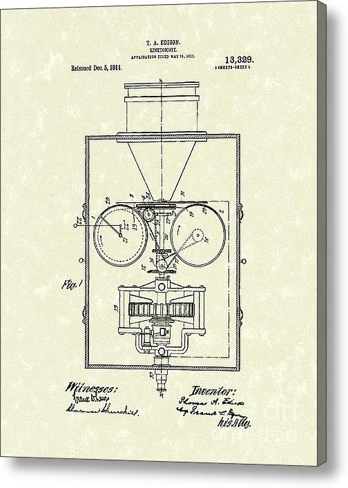 kinetoscope | Edison Kinetoscope 1911 I Patent Art Acrylic Print By Prior Art Design
