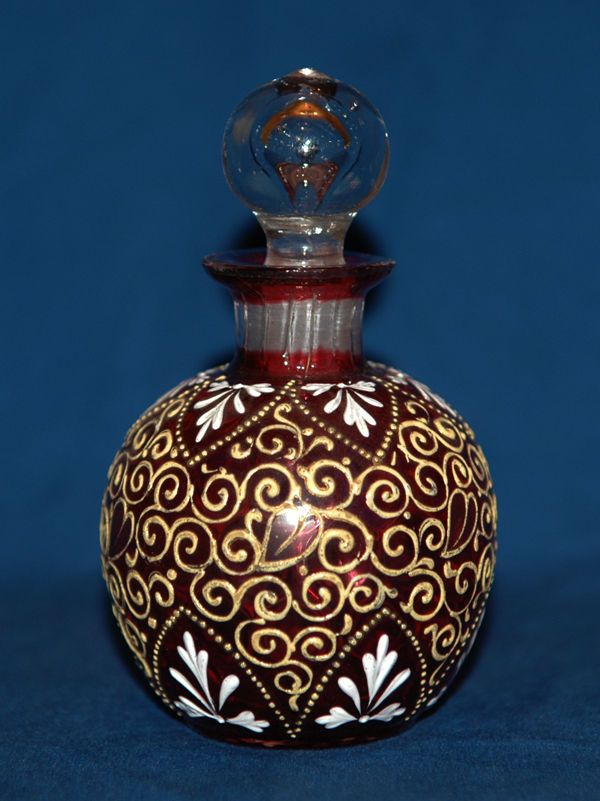 Antique Bohemian Moser RubyCranberry Red Glass Painted Enamel Inspiration Perfume Bottles Decorative Arts