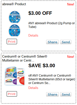 picture relating to Abreva Coupons Printable titled Rush! Clean Printable Pink Plum Coupon codes, Abreva, Centrum