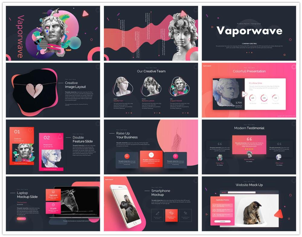 The Best 5 Vaporwave Powerpoint Template Etsy Powerpoint Presentation Design Vaporwave Powerpoint Design