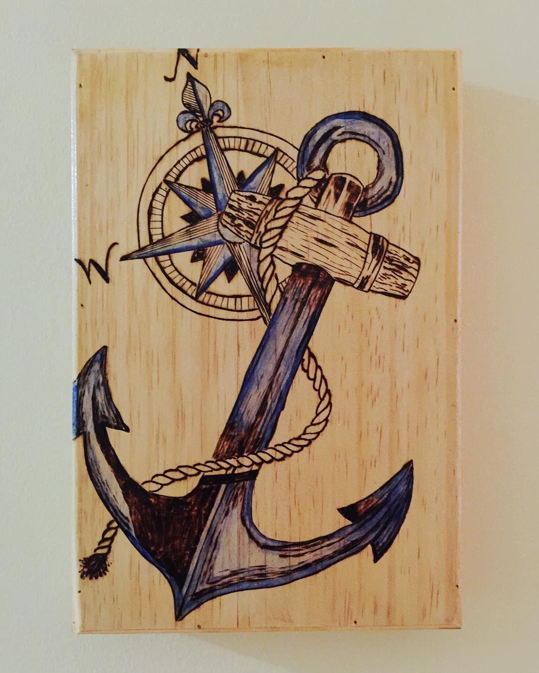Jennyannecustoms Etsy Woodburning Pyrography Anchor Compass Nautical Wood Burning Patterns Stencil Wood Burning Art Wood Burning Crafts
