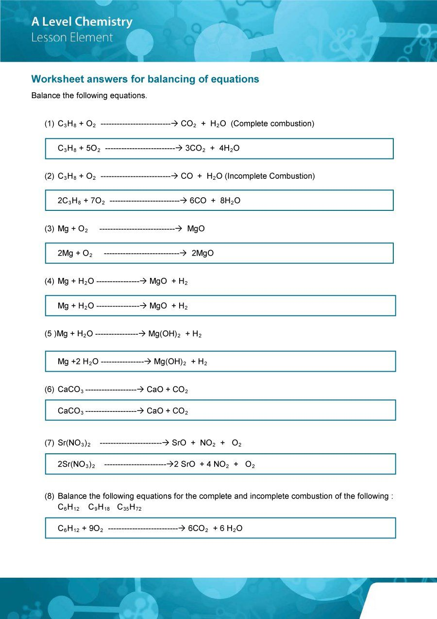 Download Balancing Equations 27 Chemical Equation Chemistry Lessons Equations [ 1274 x 900 Pixel ]