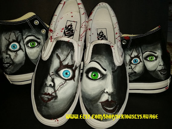 23191eb637d Chucky and Bride Of Chucky Custom Painted Classic Horror Movies Vans  Converse Toms shoes. Bloody Fantastic!