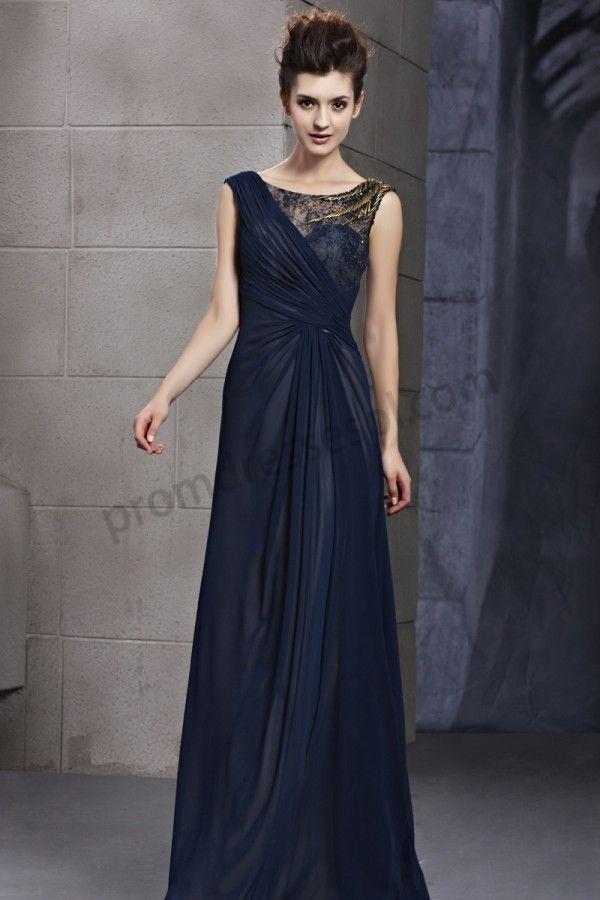 dark blue lace v-neck sleeveless ruffle chiffon long evening party ...