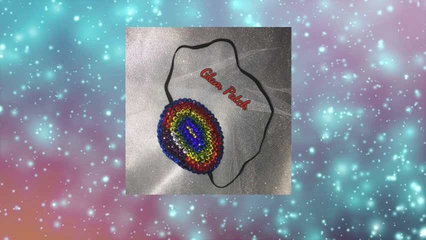 Black eye patch bedazzled in rainbow multi colour crystals