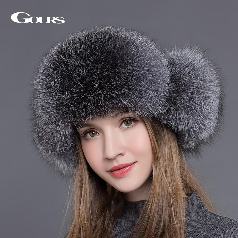 Saga Furs Regular Women/'s Size. Blue Fox Fur Roller Hat With White Leather