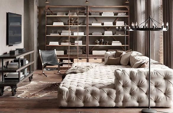 Loving This Giant Tufted Sofa! Perfect For An Intimate Media Room.
