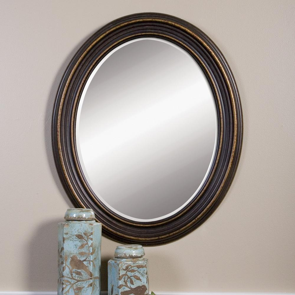 Global Direct 34 In X 28 In Rubbed Bronze Wood Oval Framed
