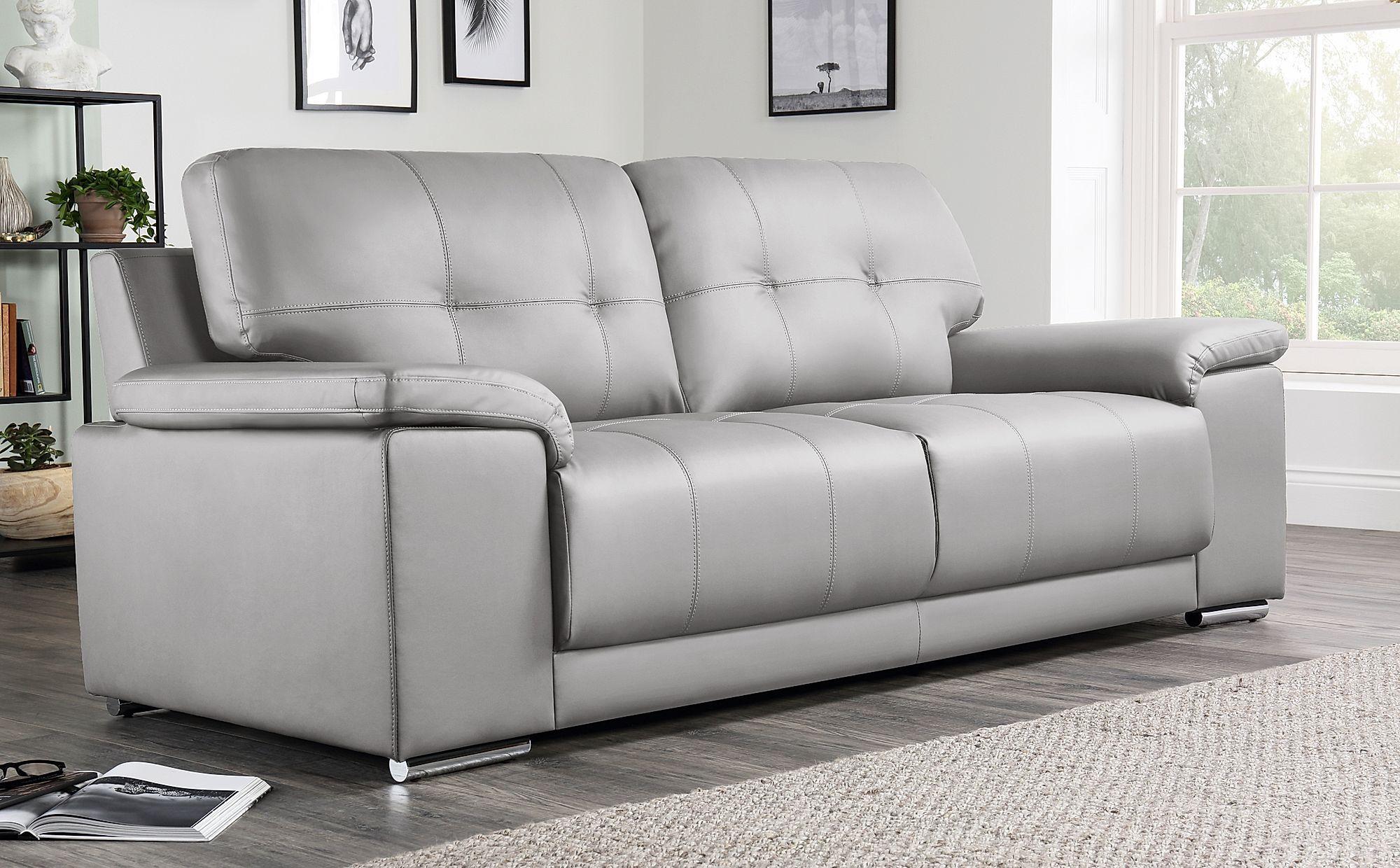 Best Kansas Light Grey Leather 3 Seater Sofa Grey Leather 400 x 300