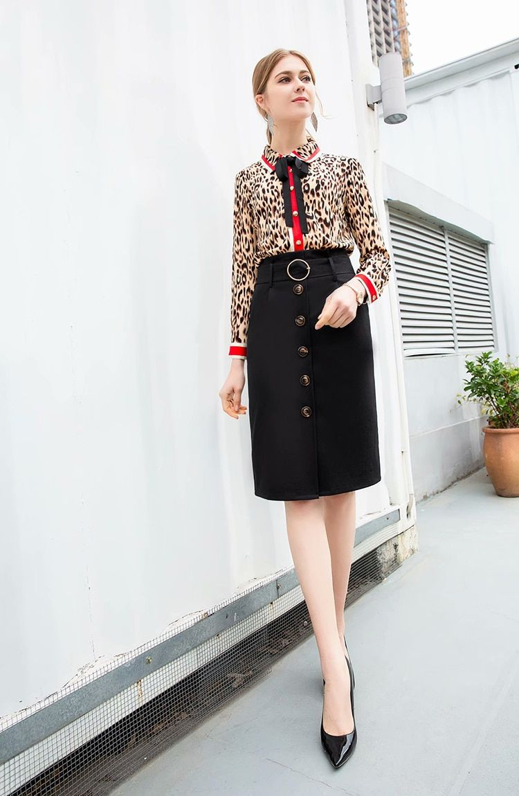 27f3fe3b9f343 Runway Elegant Leopard Print Skirt Suit Women's Long Sleeve Blouse+ ...