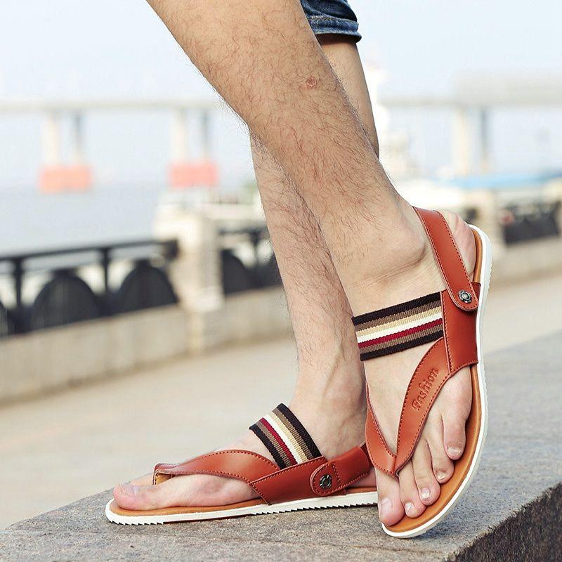 ... Playa Zapatos Casuales Pisos Comfy Tanga Zapatillas antideslizantes  Masculinos Sandalias Al Aire Libre de sandalias de color naranja fiable  proveedores ...