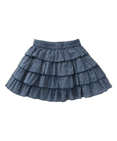 Look at this #zulilyfind! Blue Tile Ruffles Silly Skirt - Girls #zulilyfinds