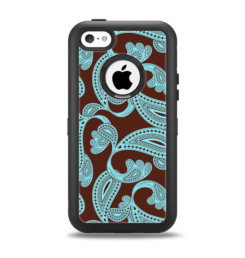 The Brown & Teal Paisley Pattern Apple iPhone 5c Otterbox Defender Case Skin Set