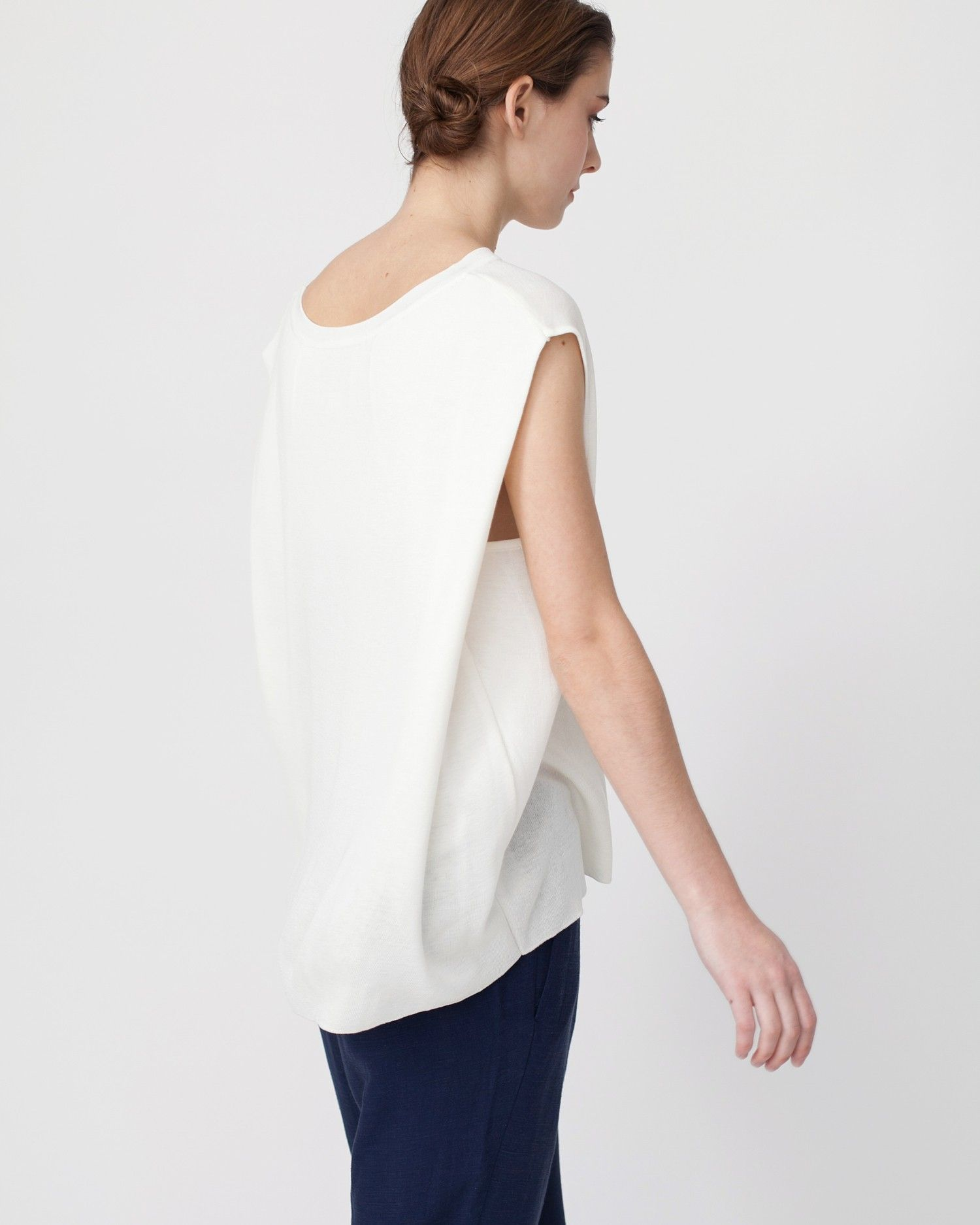 Linen knit top with folded sides