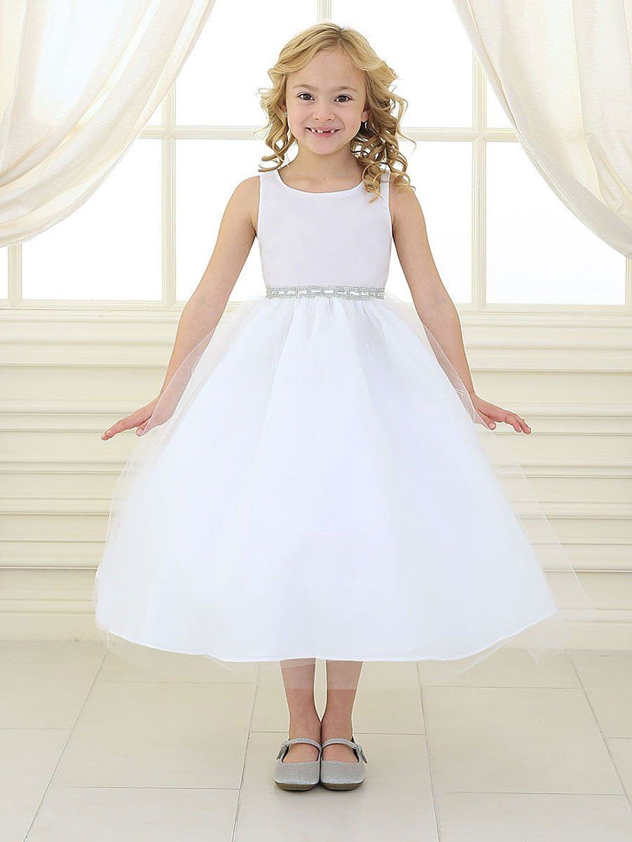 26e40bb060 Satin and Tulle Dress with Rhinestone Gem Accent