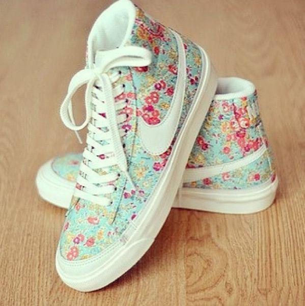 Floral Nike High Tops   Cute nikes