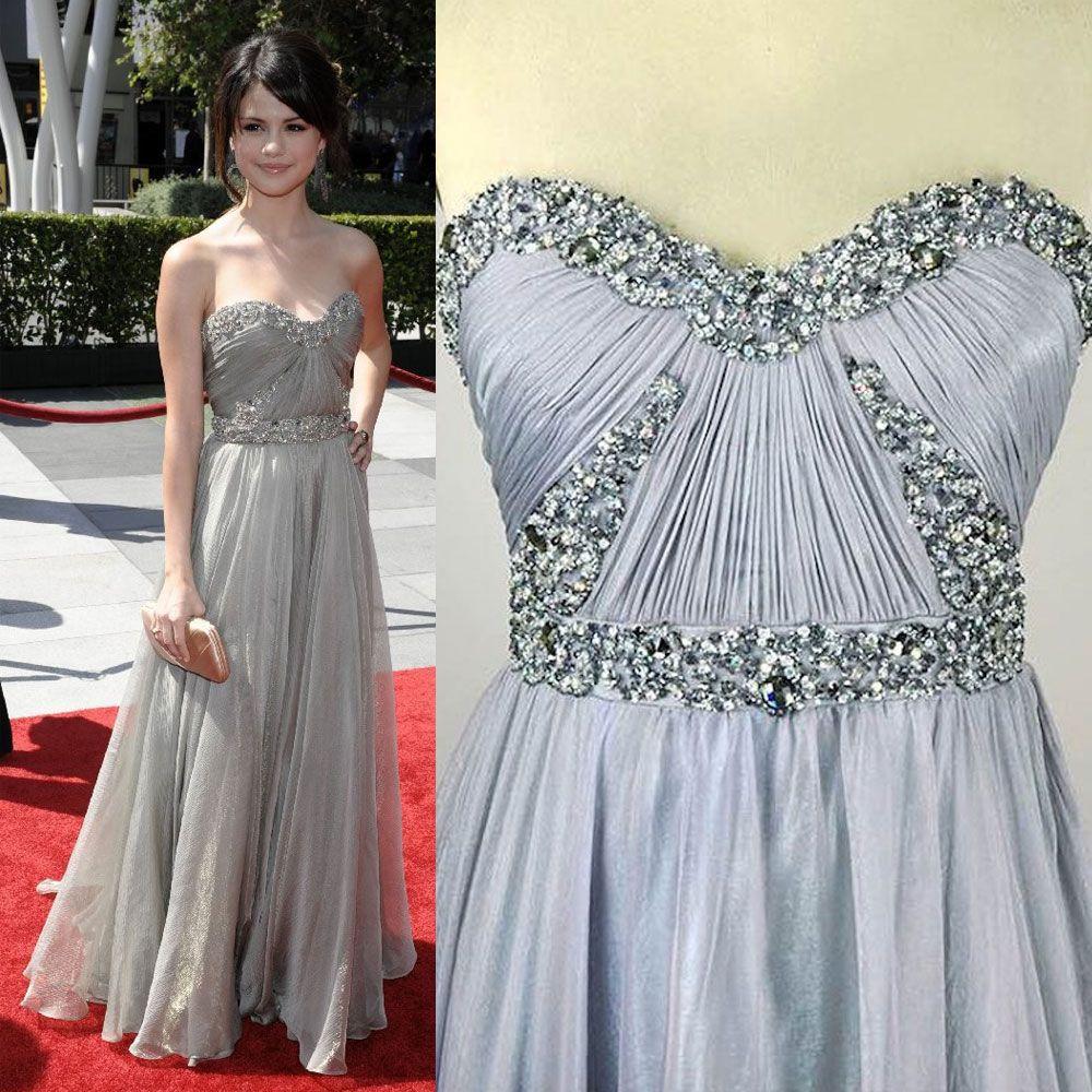 Selena Gomez Grey Oscar Red Carpet Celebrity Dress Strapless ...