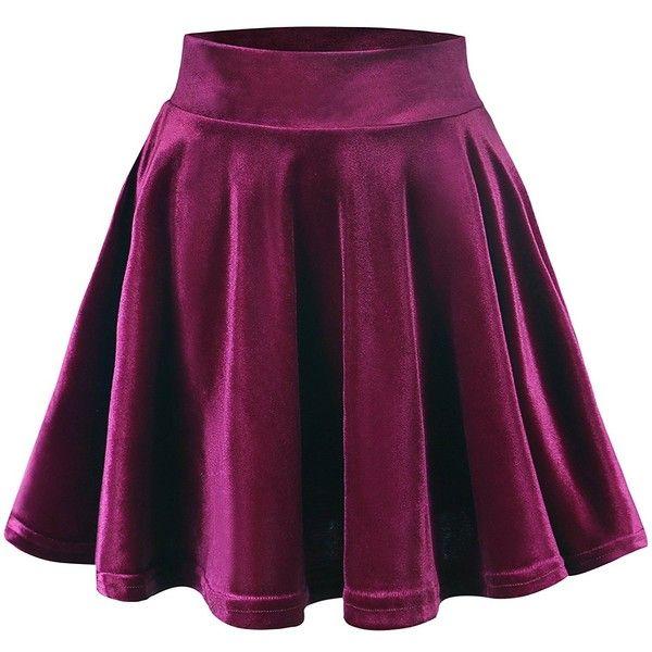 Urban CoCo Women's Vintage Velvet Stretchy Mini Flared Skater Skirt (285 UYU) ❤ liked on Polyvore featuring skirts, mini skirts, mini skater skirt, mini skirt, flared skirt, stretchy mini skirts and flare skirt