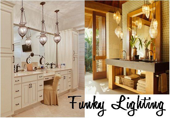 Funky Pendant Lights And Lanterns In The Bathroom Bathroom