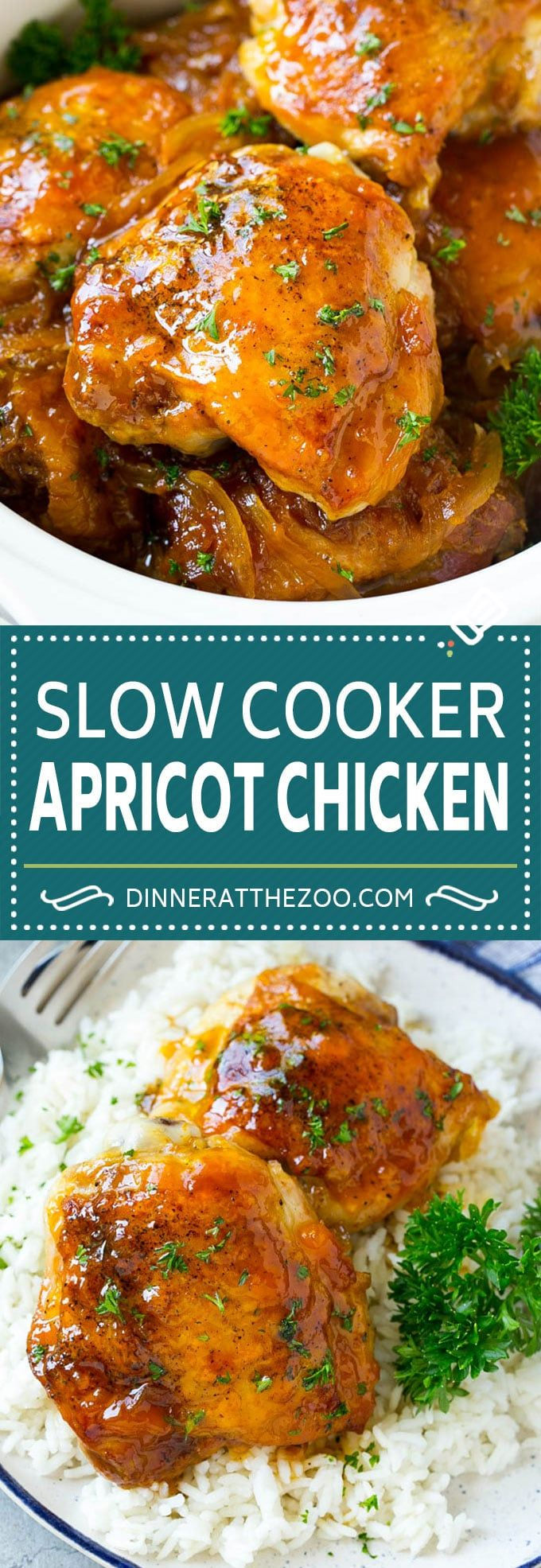 Slow Cooker Apricot Chicken - Dinner at the Zoo
