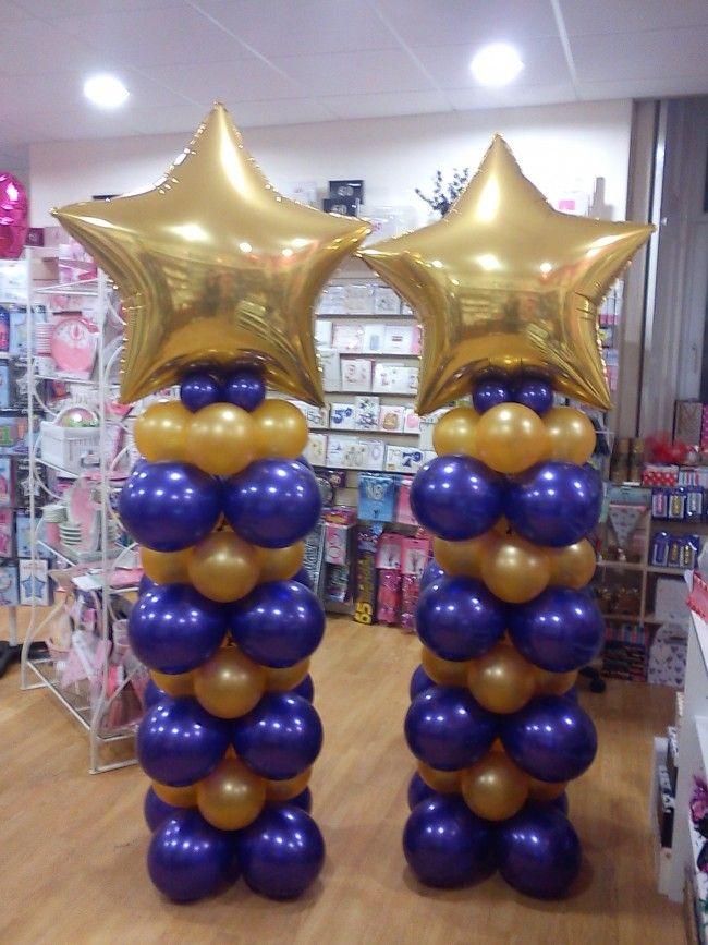 Balloon columns stars purple and gold pinterest for Balloon column decoration