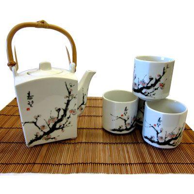 Japanese Porcelain Tea Pot Cups Gift Box Set Metallic Black Made in Japan 5 PCS