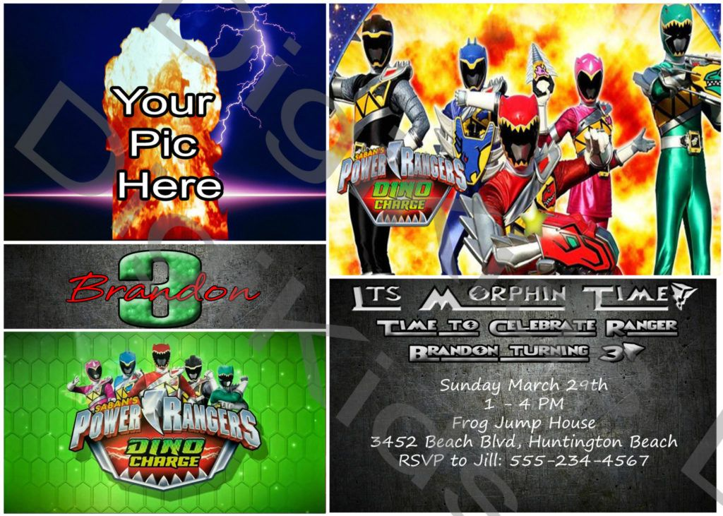 Power Rangers Birthday Party Invitations List Of Free Printable