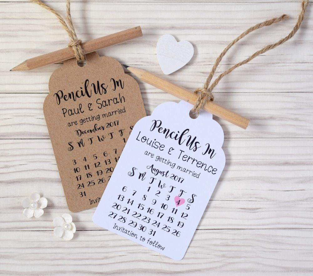 Details about pencil us in rustic calendar save the date