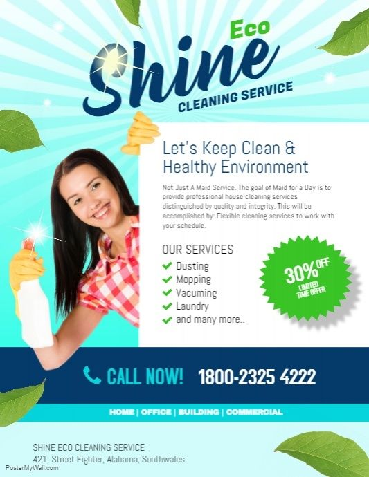 Shine Eco Cleaning Service Business Flyer Template Pinterest