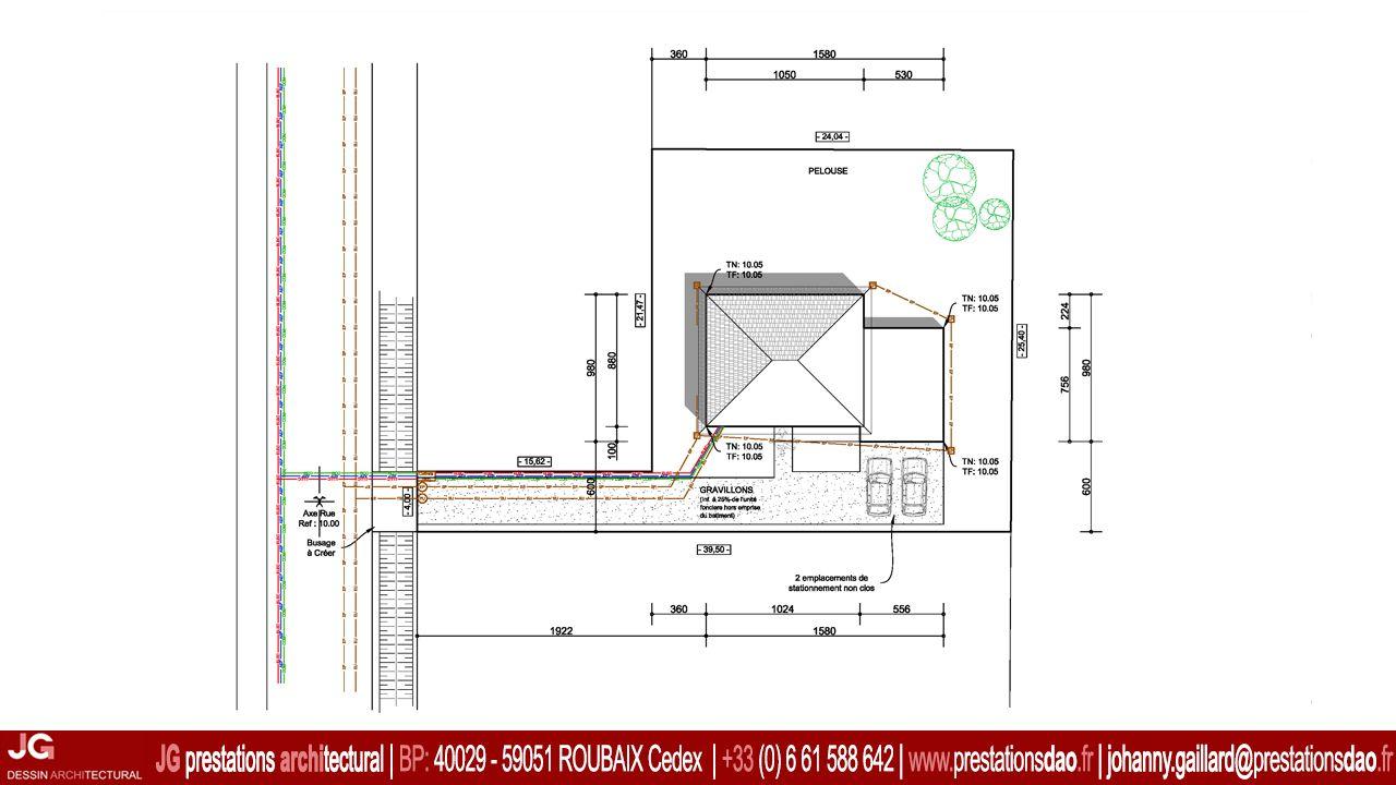 15 1009 jg dessin architectural plan masse pour permis. Black Bedroom Furniture Sets. Home Design Ideas