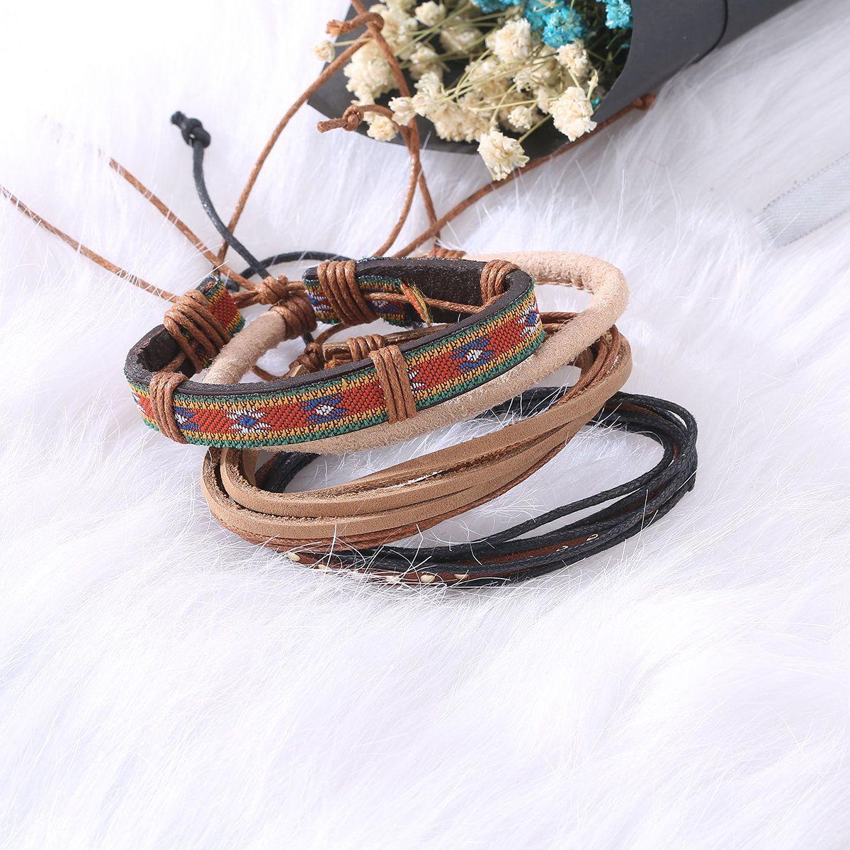 Cute casual unisex multi bracelet adjustable woven leather bracelets