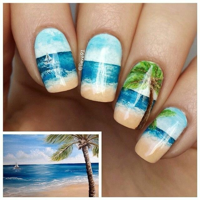 Amazing Beach nailart #nailart #nails #beach - Amazing Beach Nailart #nailart #nails #beach Nail Art Pinterest