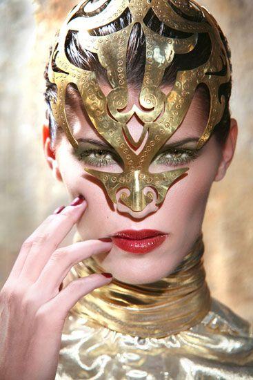 Golden Femme Warrior Cutout Headwear with Nose Guard #fashionarmor