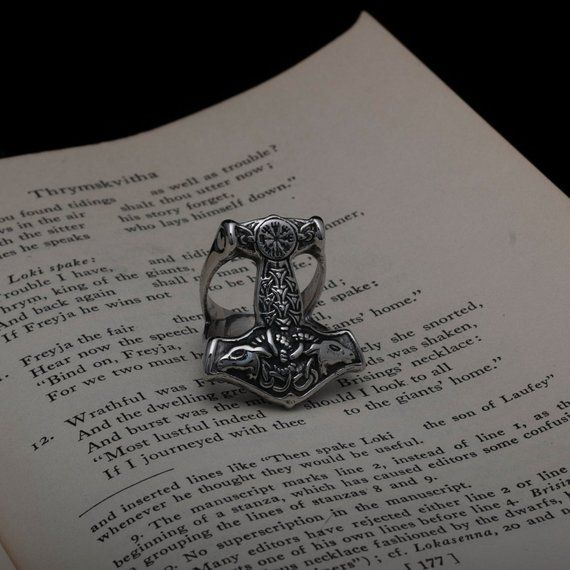 Viking Mjolnir Thor/'s Hammer Rune Ring Stainless Steel