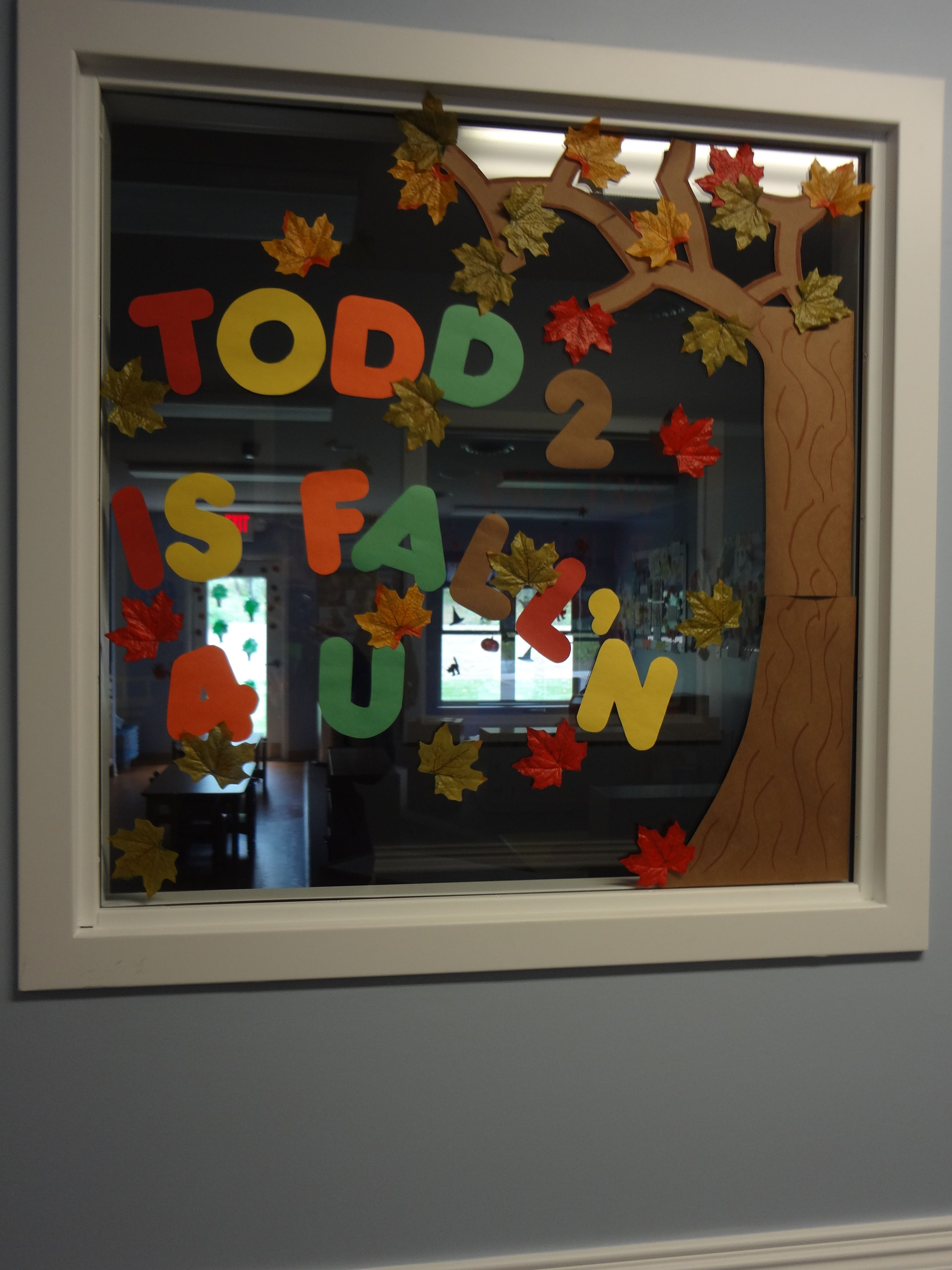 my classroom window fall decor