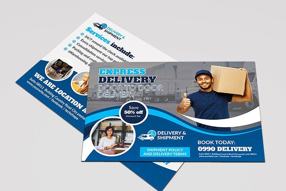 Delivery Shipment Postcard Postcard Postcard Template Template Design