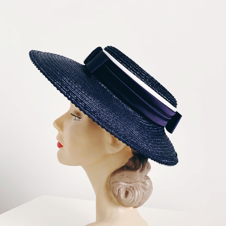 Women/'s Navy Blue Straw Hat 50/'s