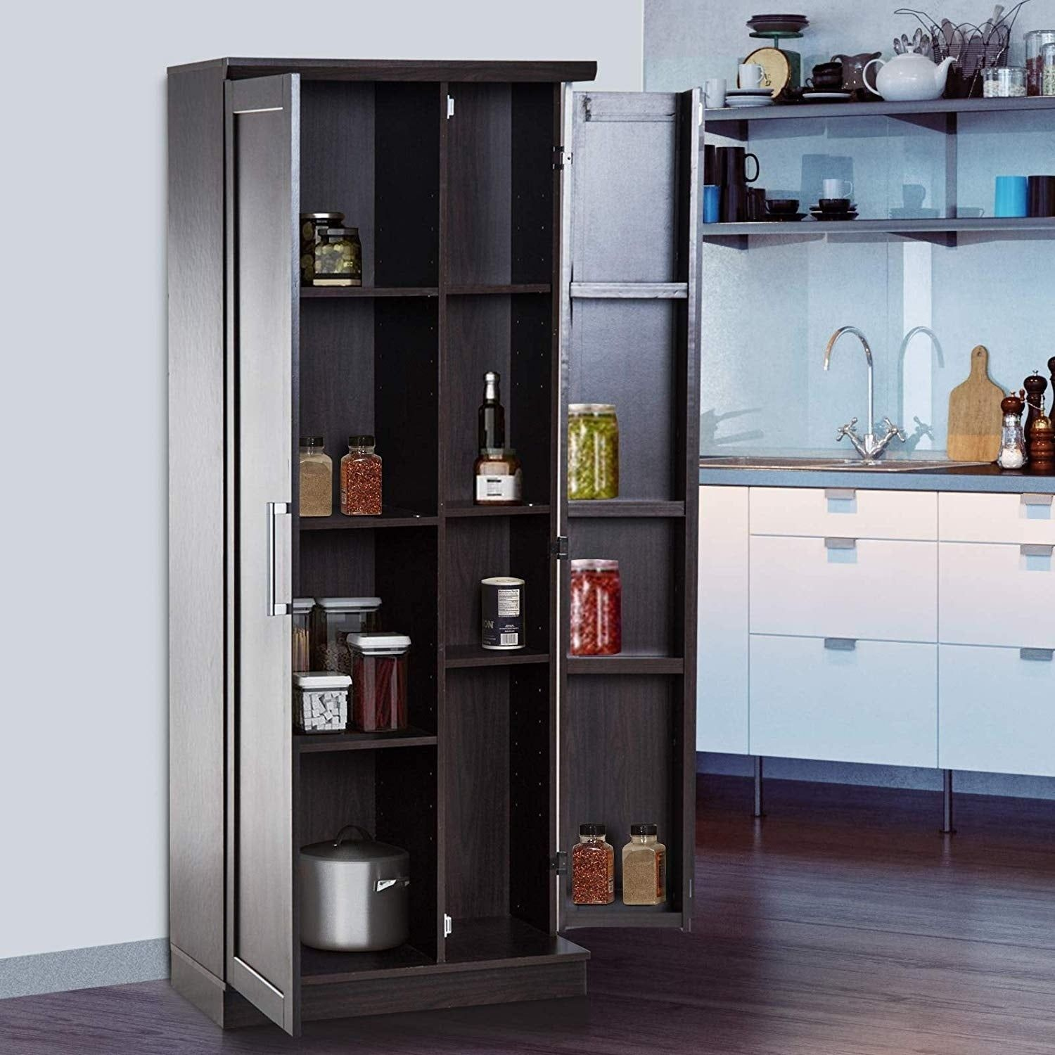 Best Homcom 72 Wood Free Standing Kitchen Pantry Organizer 640 x 480